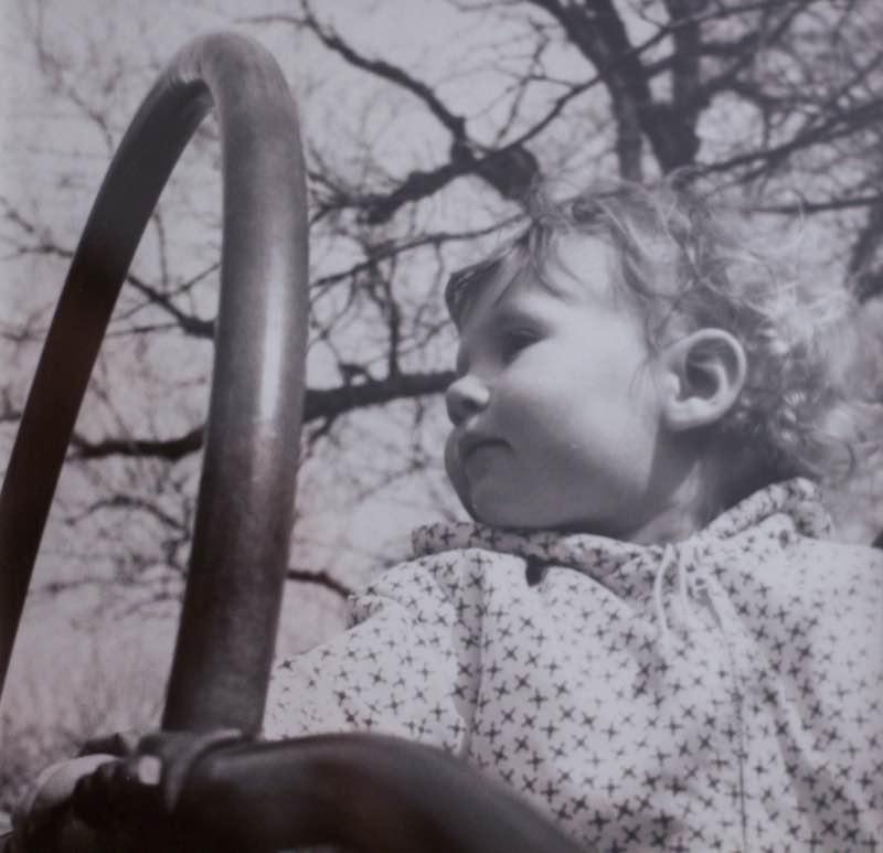 Novelist, Writer, Jane Mendelsohn at home, black and white photo of girl on slide | Fabulous Fabsters