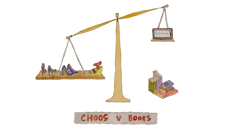 Watercolour of Choos v Books | Fabulous Fabsters
