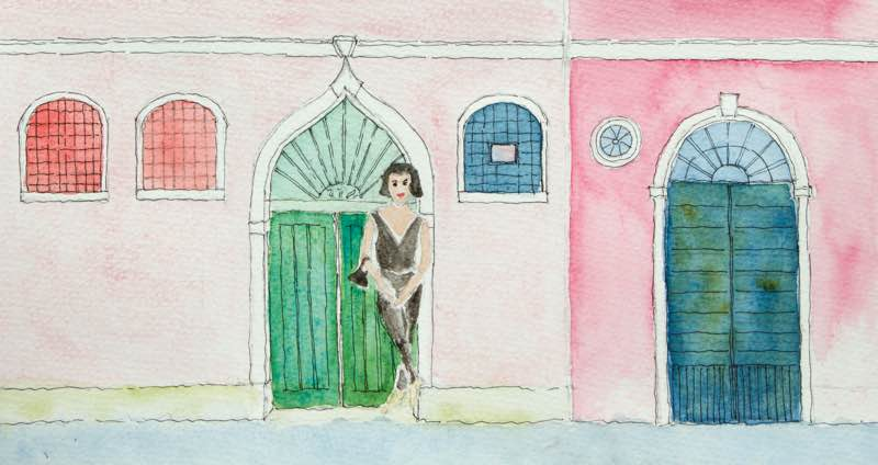 Saving Venice — City of Her Dreams, Watercolour drawing of JoAnn Loctov in Venice by Christine Chang Hanway | Fabulous Fabsters