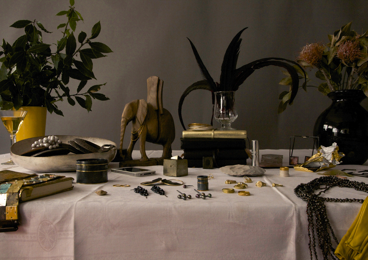 table laid out with jewellery display