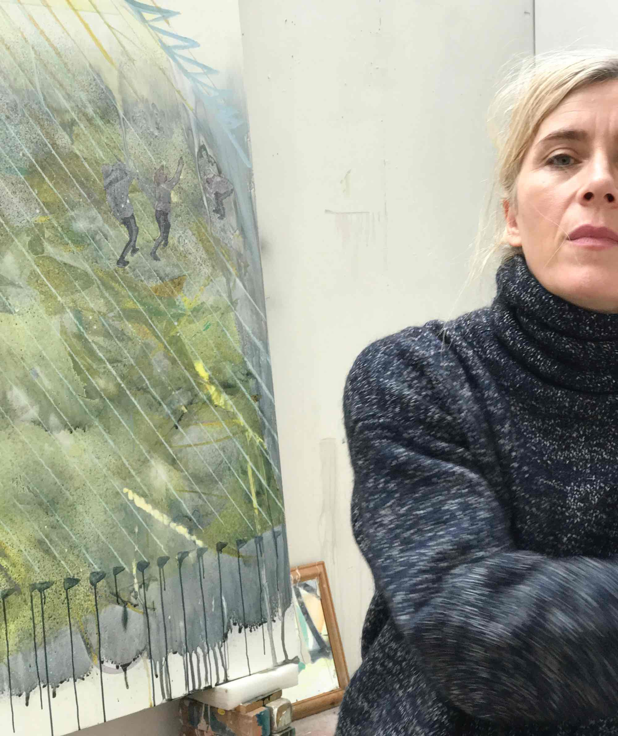 Sarah Pickstone, female artist in her studio