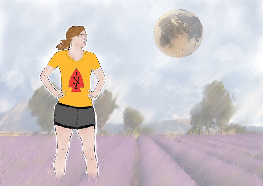 Female warrior walking out of lavender fields — collage and drawing. Next Tribe