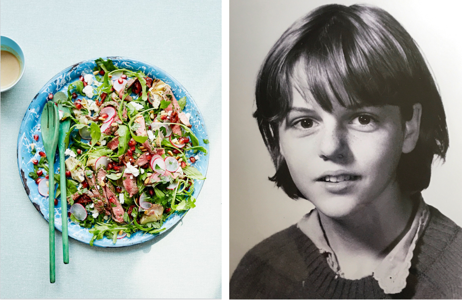 Steak Salad from The Happy Kitchen, photograph by Laura Edwards, school girl photo