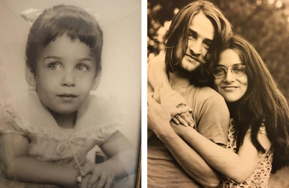 baby photo, hippy couple