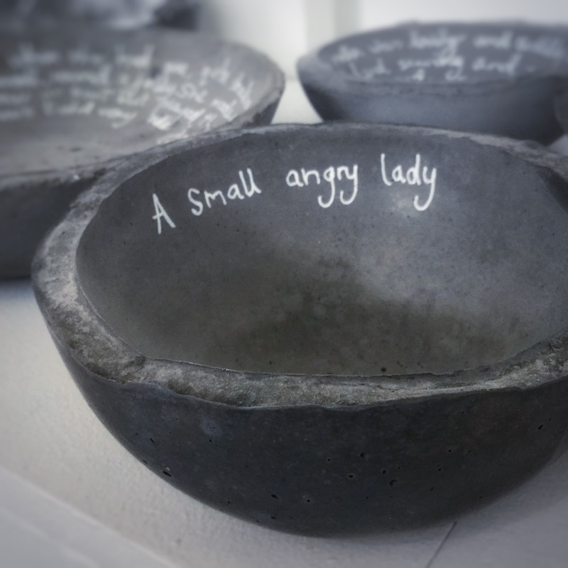 Black concrete Mother Bowl with inscription by Tracey Kershaw