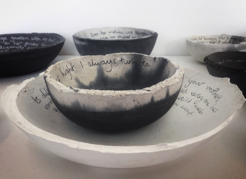 Stack of concrete Mother bowls with written inscription by Tracey Kershaw