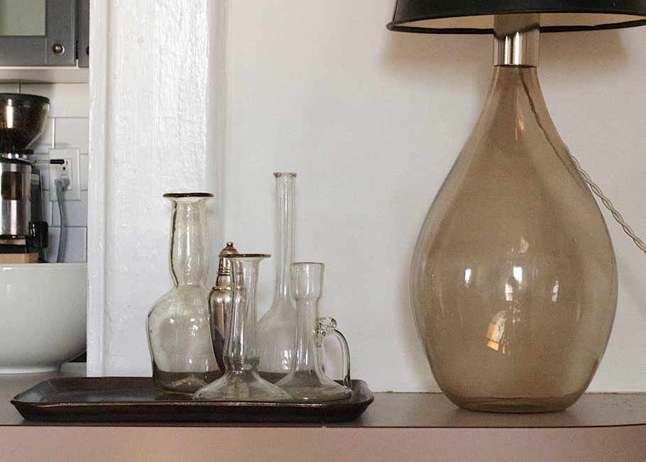 Julie Carlson Brooklyn Apartment, Still life with John Derian vases and glass based lamp from Ochre | Fabulous Fabsters