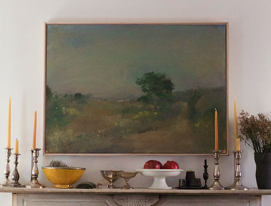 Julie Carlson Brooklyn Apartment, Robert Dutoit painting over Victorian mantel | Fabulous Fabsters