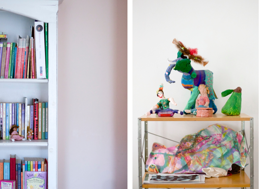 Novelist, Writer, Jane Mendelsohn at home, bookshelf filled with colorful children's books, paper mâché sculptures | Fabulous Fabsters