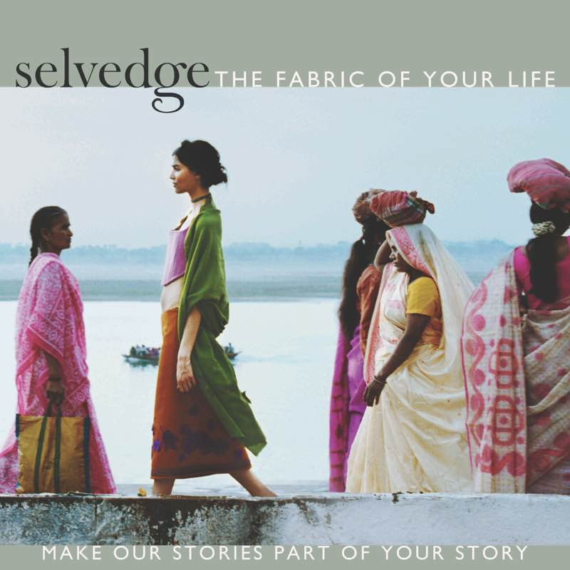Women in brightly dressed saris in front of River Gange on the cover of Selvedge, a textile magazine. Photo by Anne Menke.