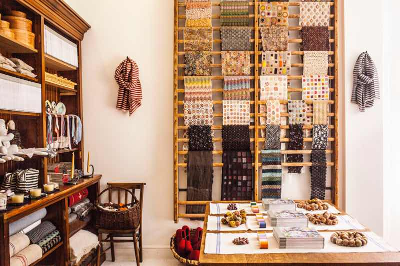 General store and haberdashery with display of textiles, scarves and ribbons, Selvedge Store, Photo by Claudia Brookes
