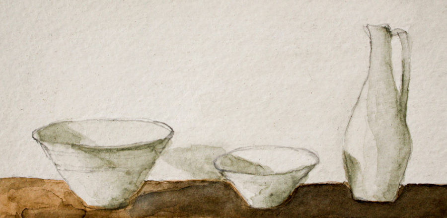 Watercolour of bowls and pitcher by Christine Hanway