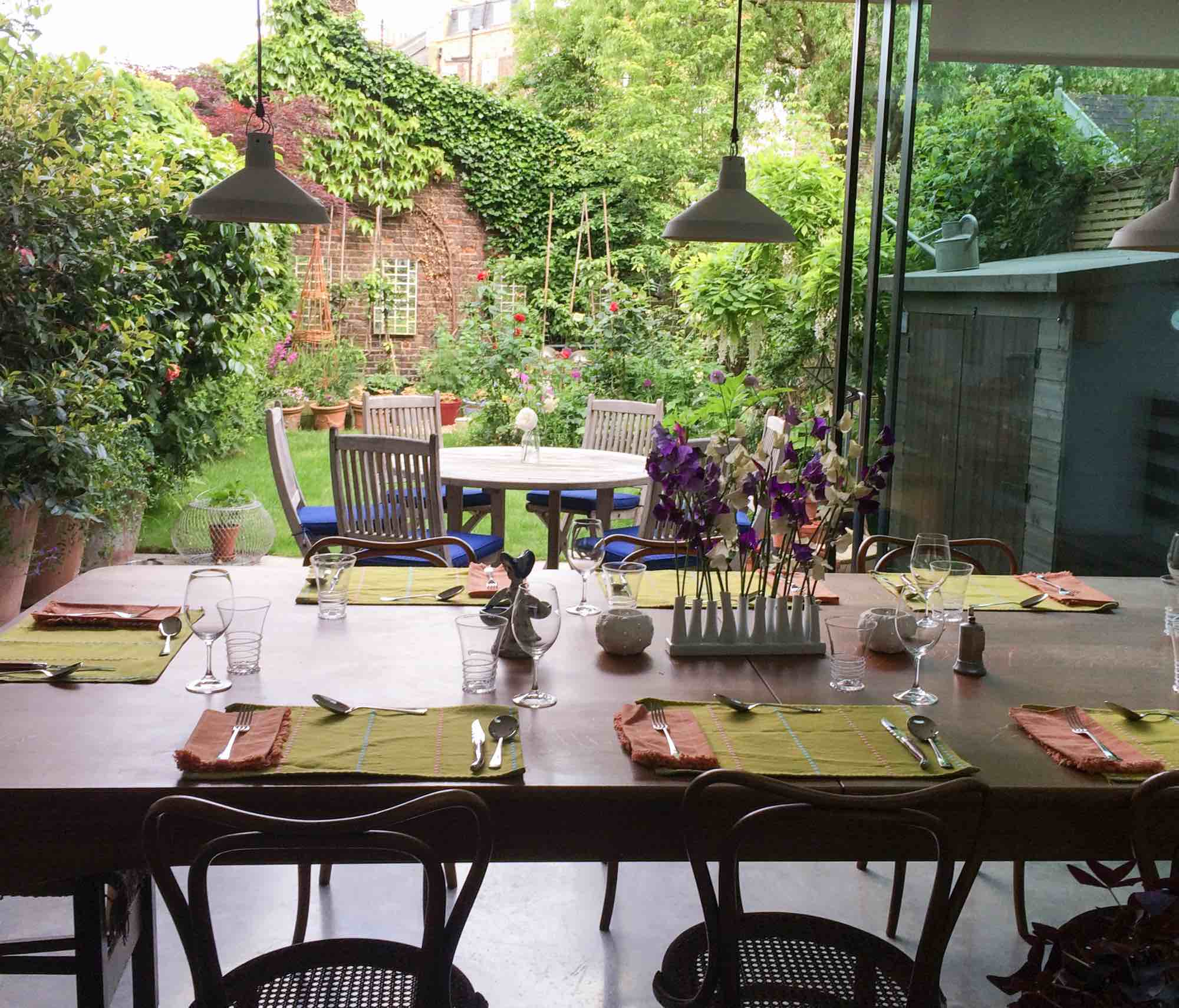 London kitchen looking out onto garden in summer