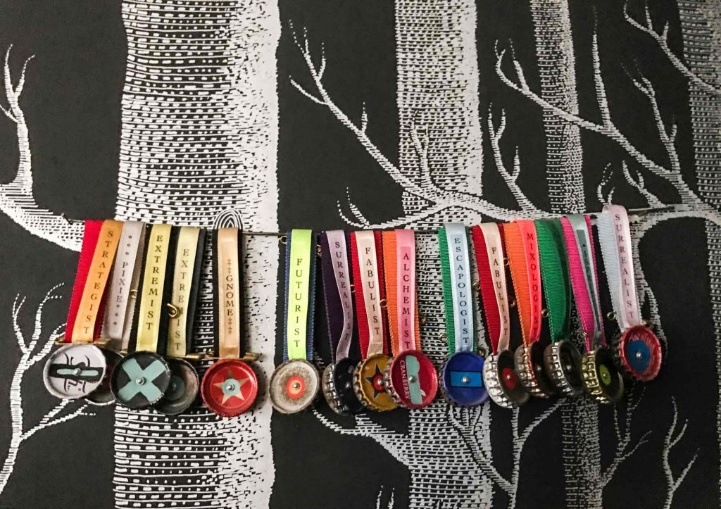 Colourful medals made from ribbons and bottle tops, Sian Evans, House of Fairy Tales