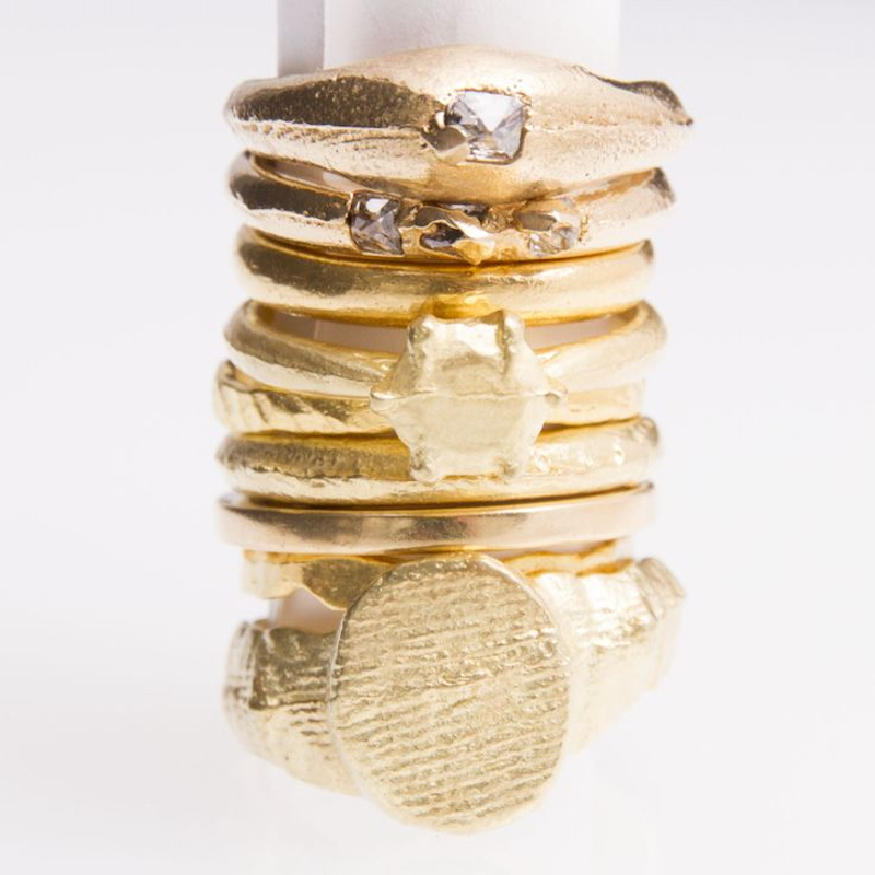 Collection of gold rings by Sian Evans