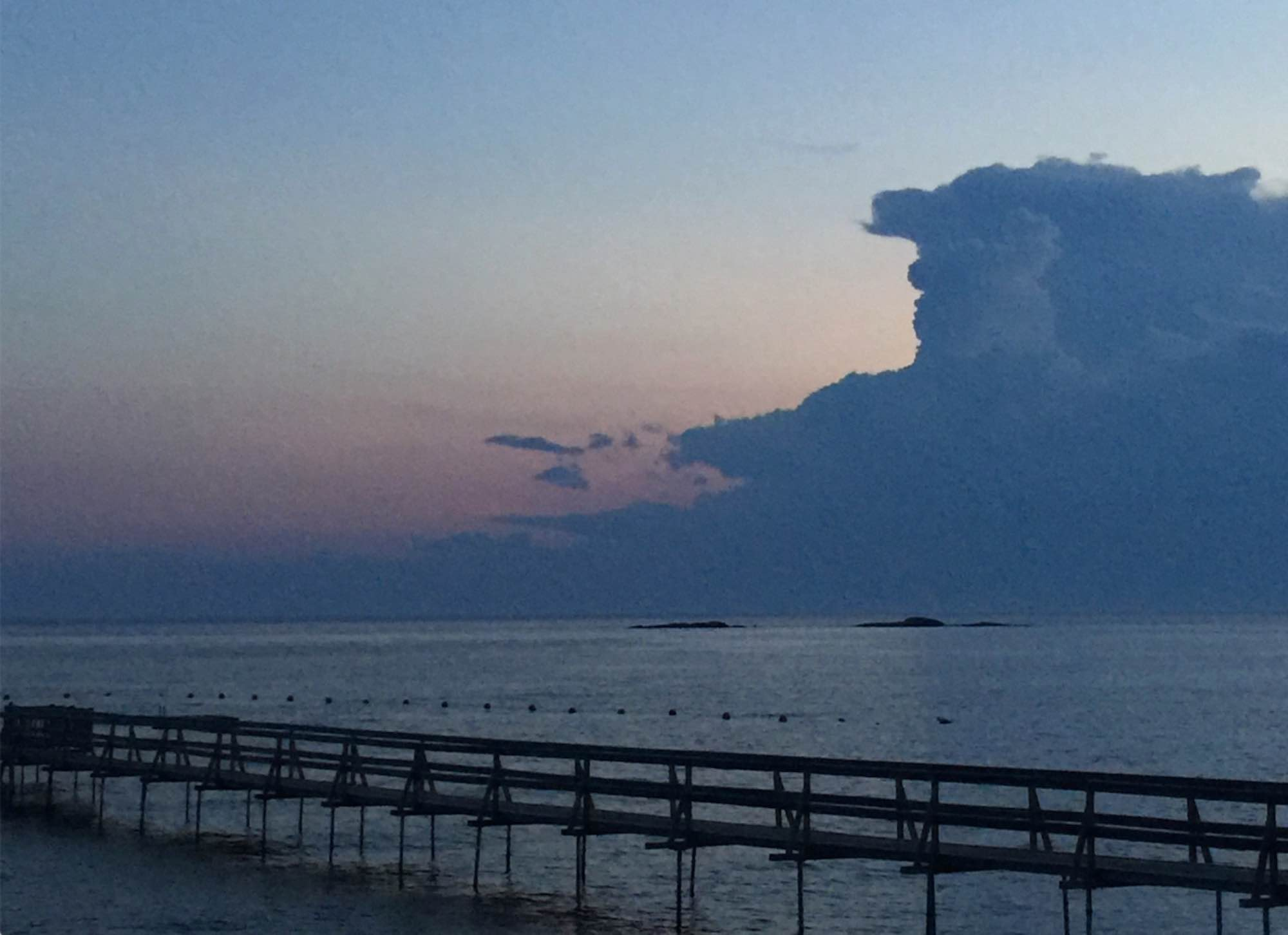 Clouds hovering over Long Island Sound. Photo by Christine Chang Hanway