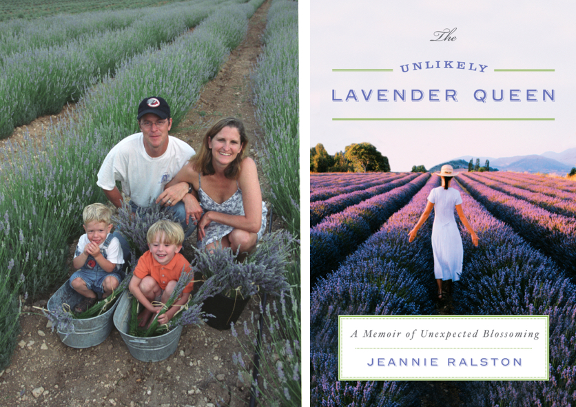 Family in rows of lavender, The Unlikely Lavender Queen by Jeannie Ralston