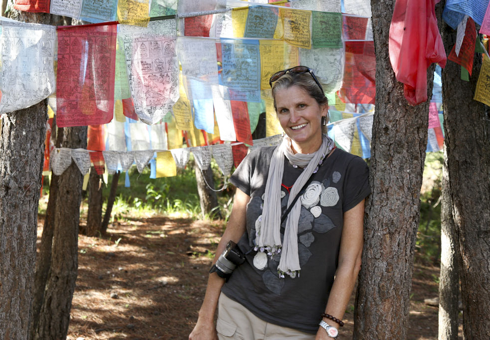 Jeannie Ralston from NextTribe.com, colourful prayer flags