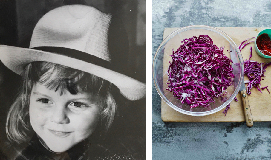Toddler with straw hat, bowl of red cabbage sauerkraut from The Happy Kitchen, photograph by Laura Edwards