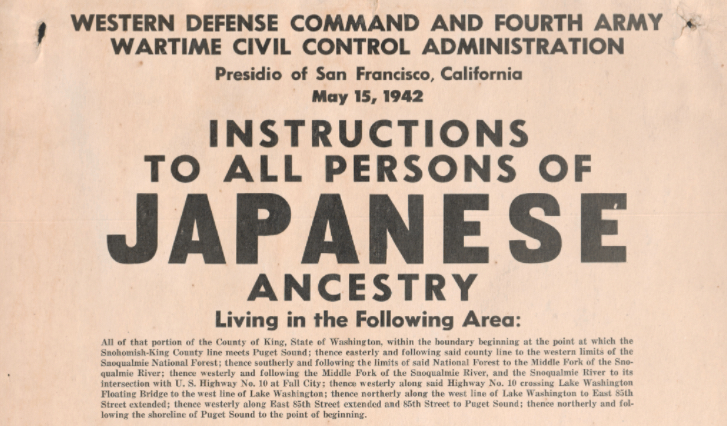Military poster to round up persons of Japanese ancestry in 1942