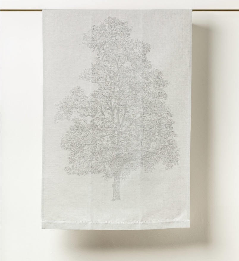 Linen jacquard towel with tree woven in - Chiarastella Cattana