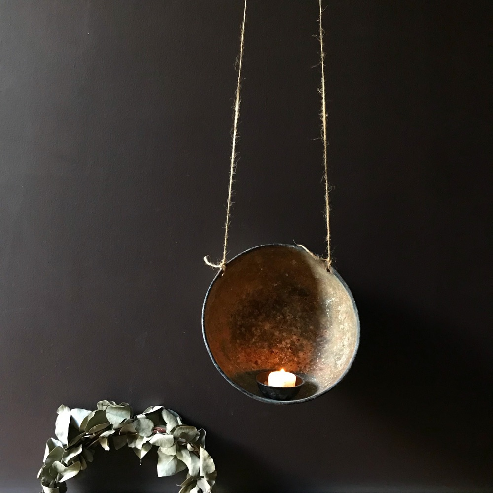 Rusted Iron Feeding Bowls turned into hanging lanterns, Gathered Found Made