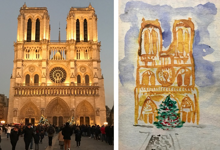 Photo and watercolour of Notre Dame, urban holiday