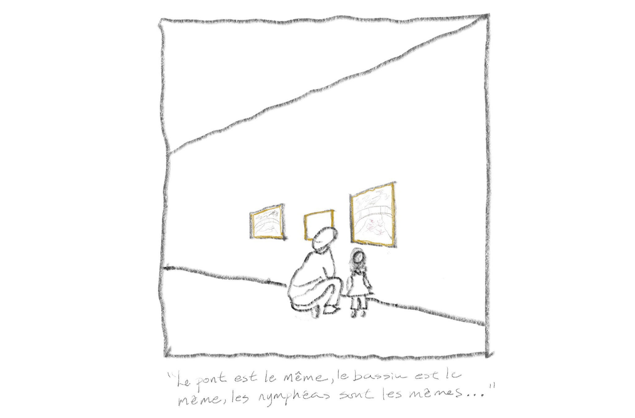Drawing of father and daughter looking at paintings.