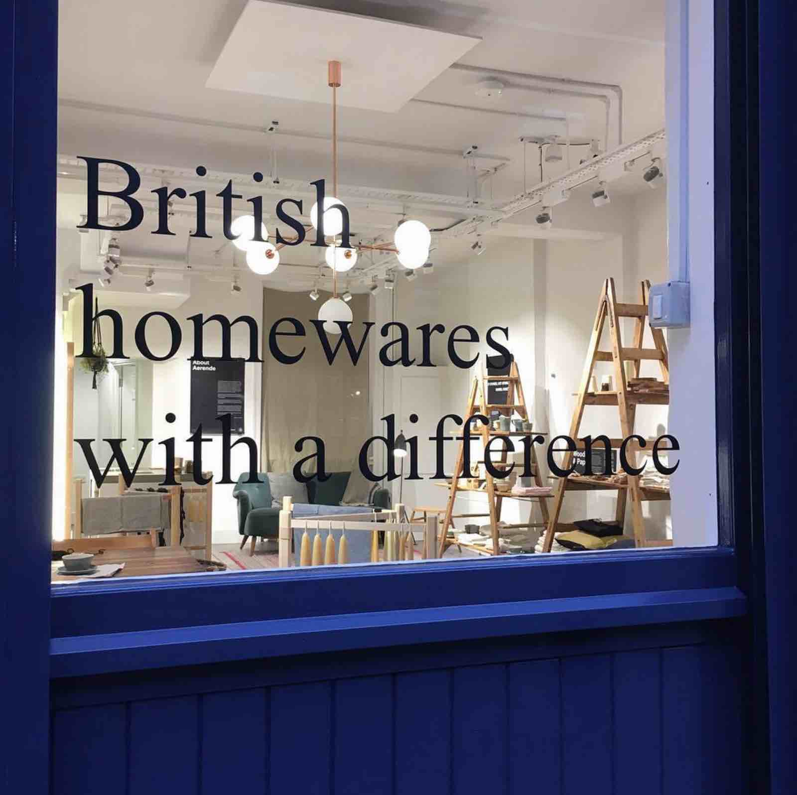 Shopfront view into space, Aerende — ethical interiors, life-improving homewares.
