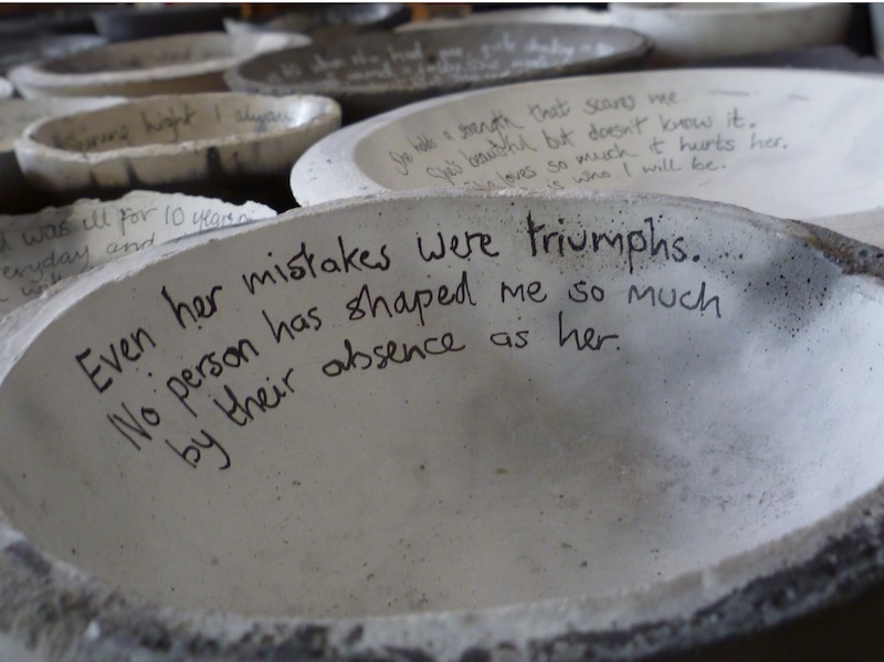 Concrete Mother Bowls with written inscription by Tracey Kershaw