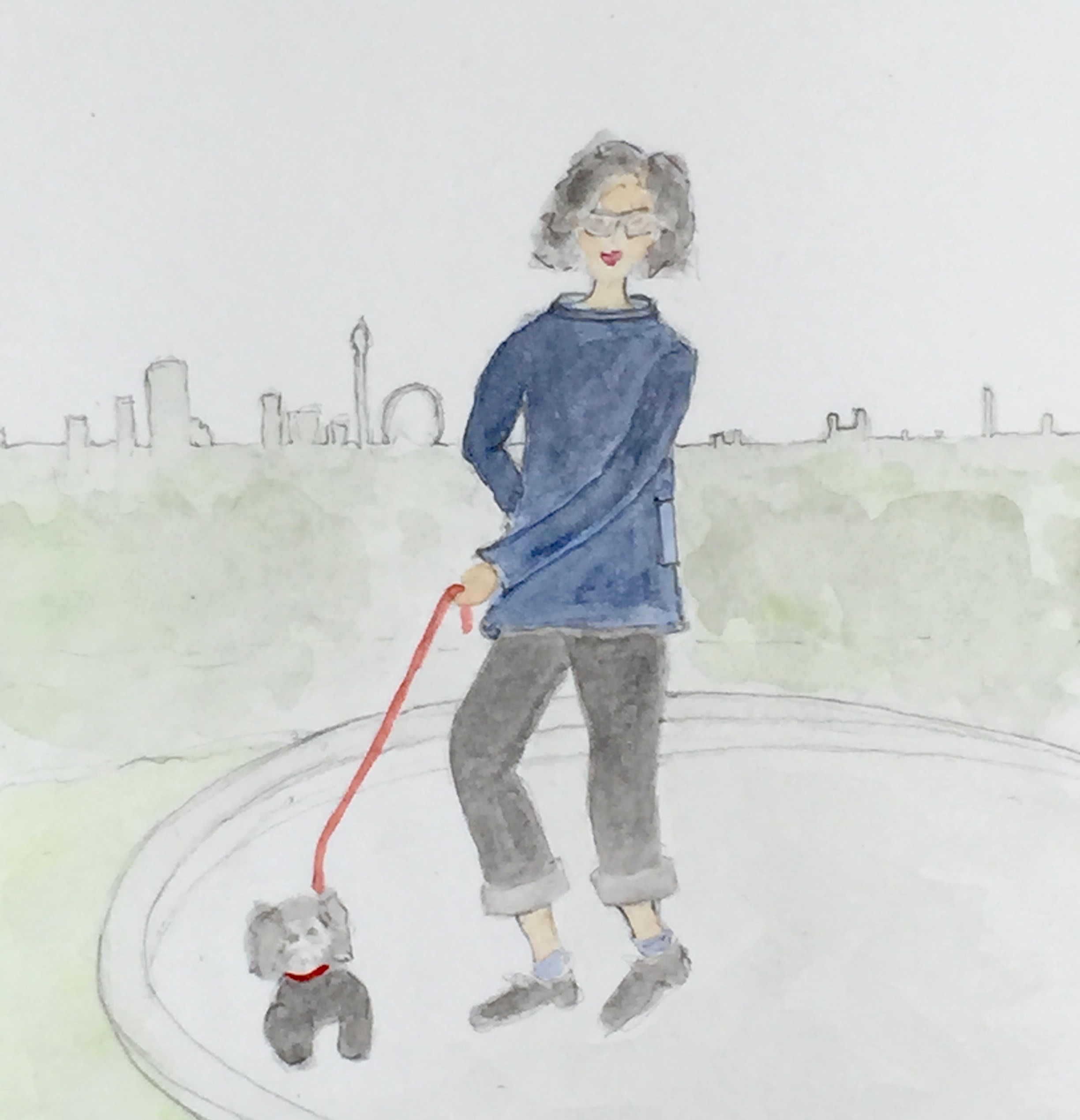Watercolour of woman walking dog in the park, eternal youth