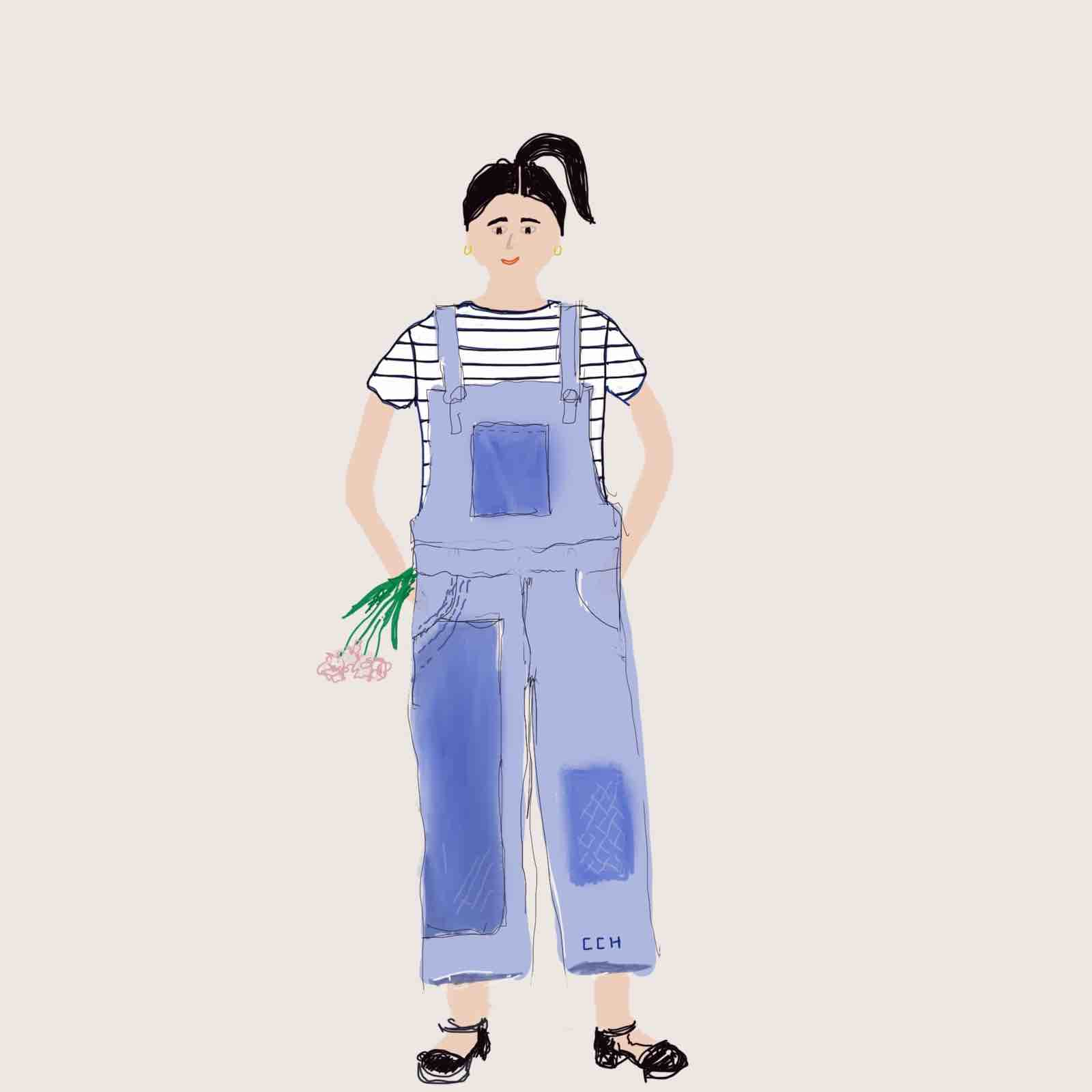 Illustration of woman wearing vintage overalls and black clogs. Drawing by Christine Chang Hanway