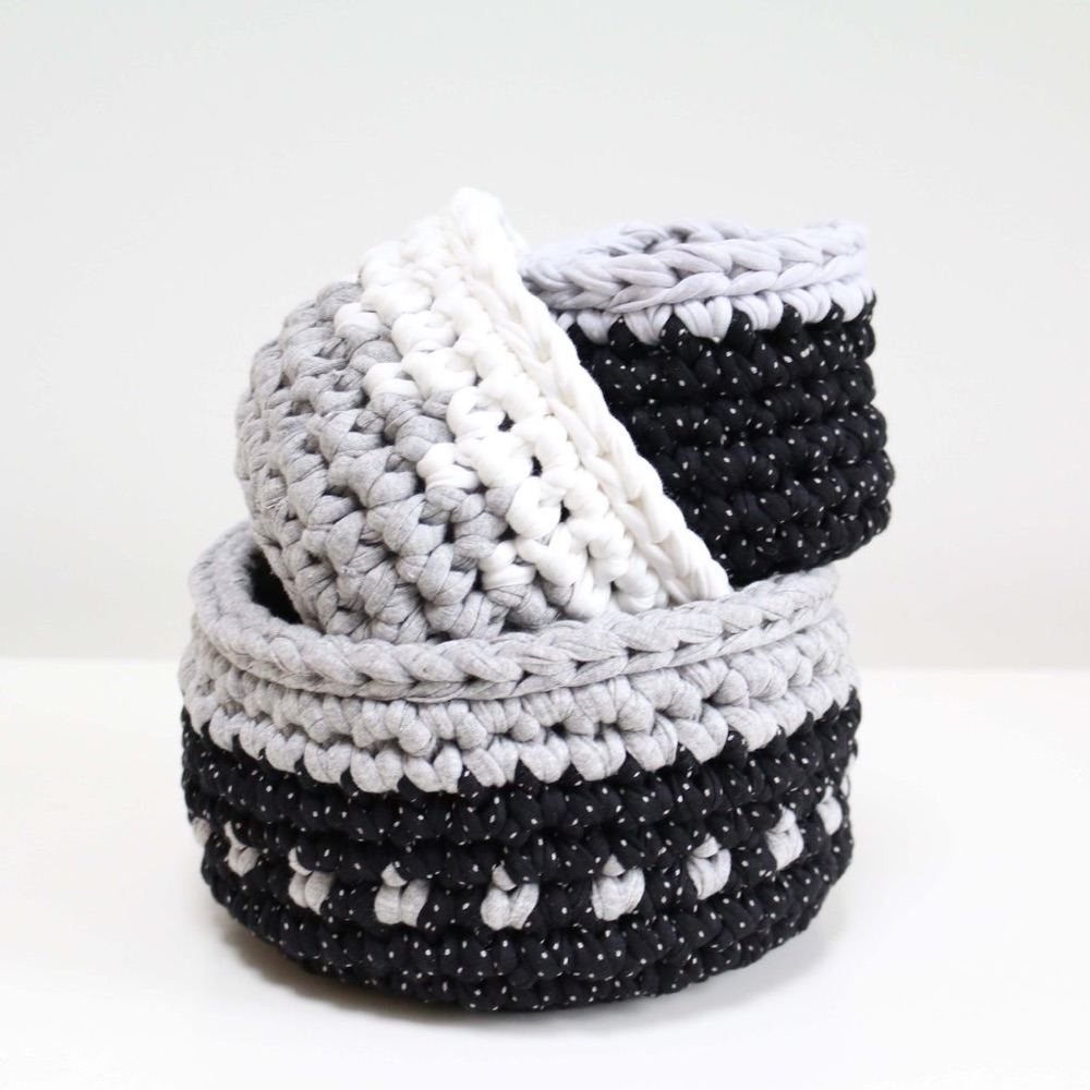 Rachel Rogers, hand-made crochet blue and white baskets