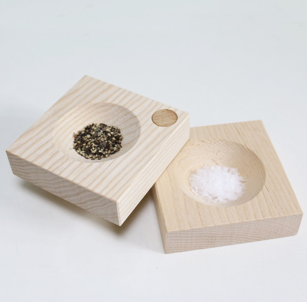 Wooden salt and pepper box, Simon Turner, Know and Love
