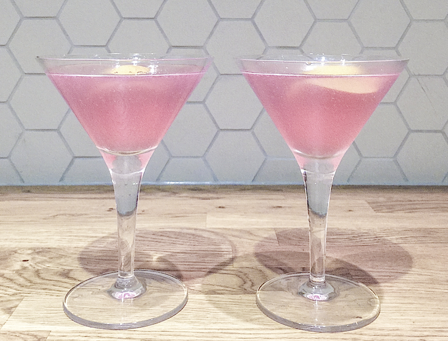 Two pink Cosmopolitans