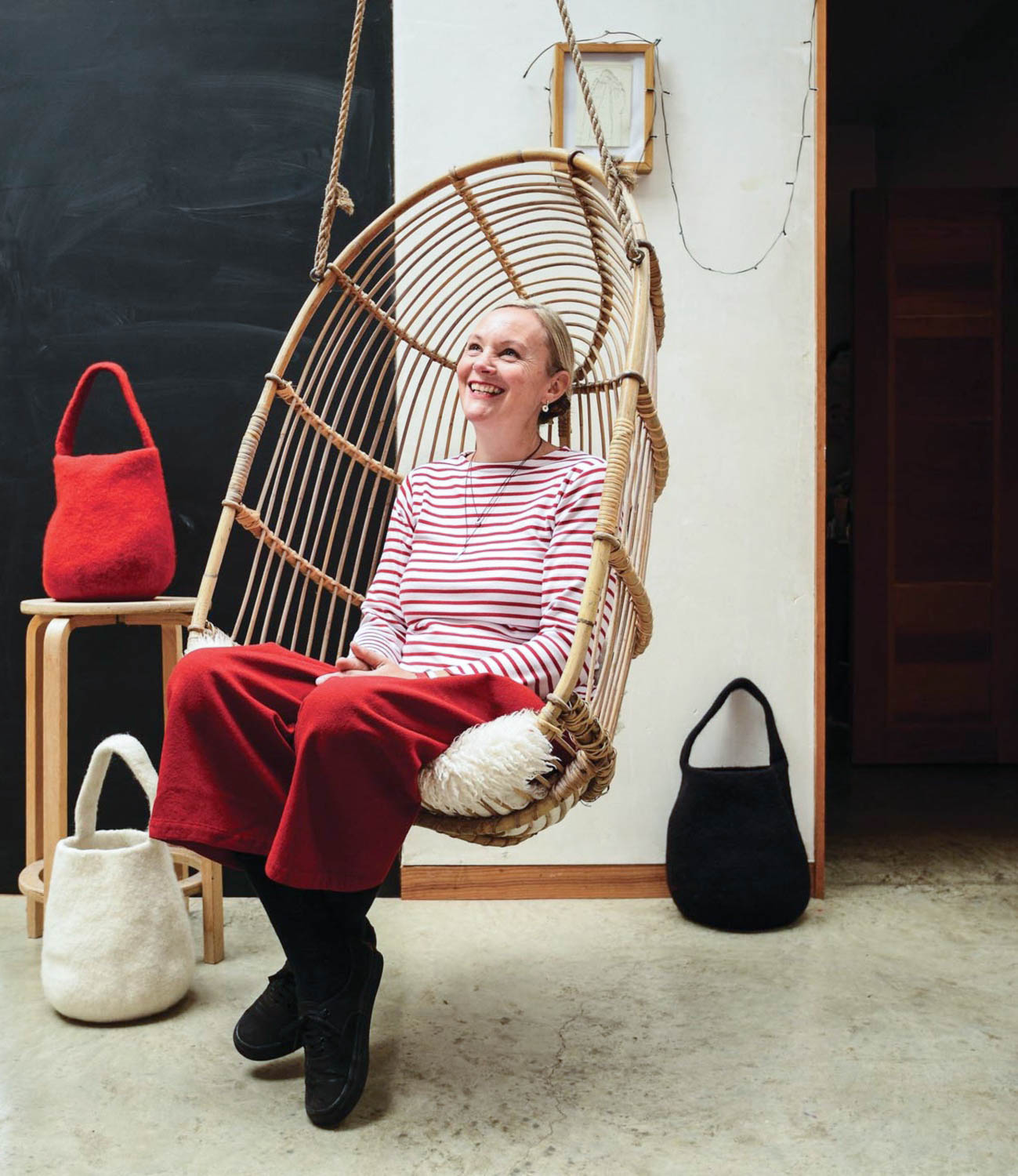 "Cecilie Telle, ""It Bags"", felted wool bucket bags, Photo by Richard Nicholson"